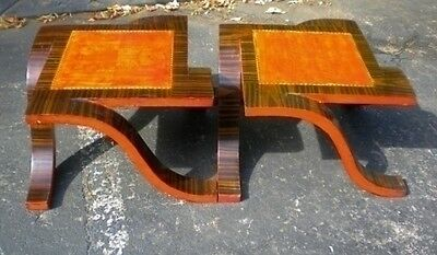 Unusual Ebony and rosewood art deco style side tables