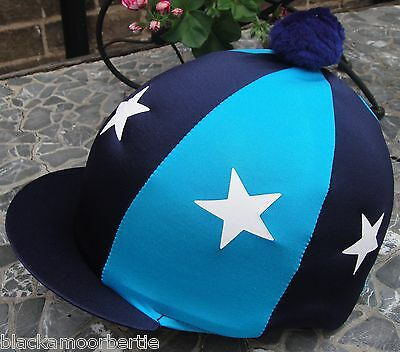 Riding Hat Silk Skull cap Cover NAVY & TURQUOISE  WHITE STARS With OR w/o Pompom
