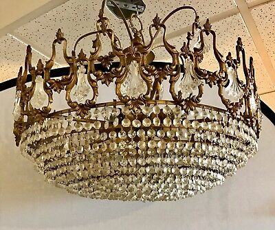 """French Louis XV Cast Bronze Round Basket Crystal Chandelier 20th Century 24""""D"""