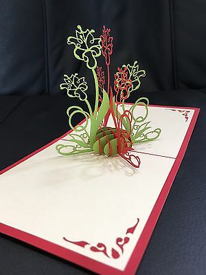 All occasions Flowers handmade card 3d pop up & origami