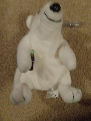"1997 Coca Cola Brand 6"" Plush Bean Bag Polar Bear w/ Coke Bottle & Tag"
