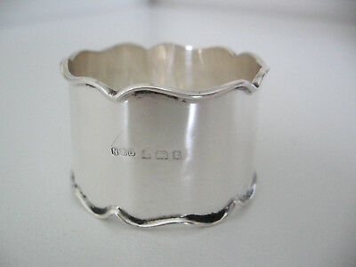 Nearly 100 year old English sterling silver napkin ring, wavy edges, no monogram