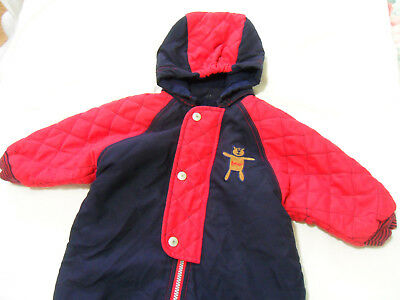 M&S Baby Boy Girl 3 – 6 Months Red & Navy Blue Snowsuit  All in One Coat