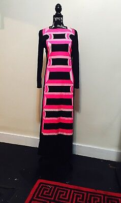 50% off Vtg 1960 70's.Mr Dino.Black Pink Psychedelic Maxi Dress.Womans sz 10