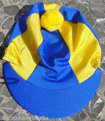 Riding Hat Silk Skull cap Cover ROYAL BLUE & YELLOW With OR w/o Pompom