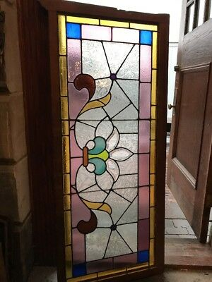 Sg 1664 Antique Beautiful Stained Glass Transom Window 23 X 54
