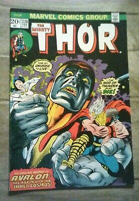 THOR #220 RAGNAROK MOVIE, GIL KANE COVER, BUSCEMA ART, SECRET of AVALON FEB 1974