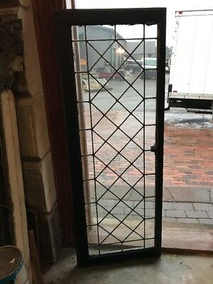 SG 1665 antique leaded glass geometric pattern transom window 19.5 x 52.5