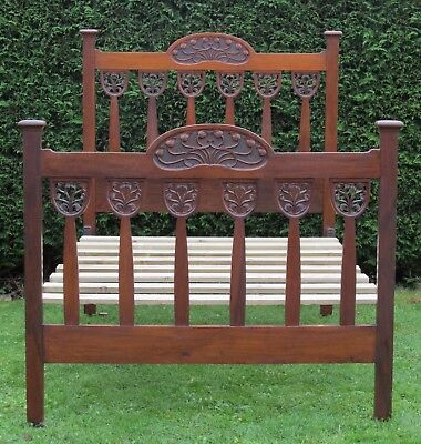 Stunning Arts and Crafts Art Nouveau Carved Walnut Standard Double Bed with Base