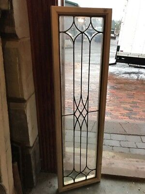 SG 1666 Antique Beveled Center leaded glass transom window 12.25 x 44.25