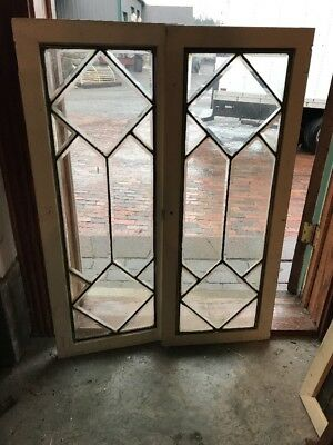 Sg 1669 2 available sold Each antique all beveled glass Window 16 x 41