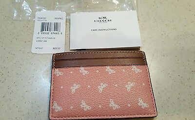 NWT COACH pink and leather BUTTERFLY DOT card case holder