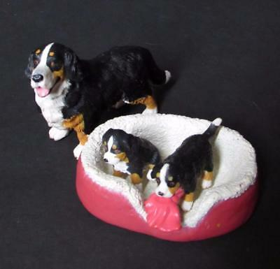 Bernese Mountain Dog with 2 Puppies and Bed Preschool Pretend Play Figures