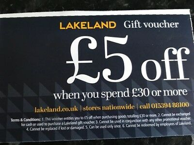 Lakeland Gift Voucher Coupon £5 off when you spend £30 online or in store