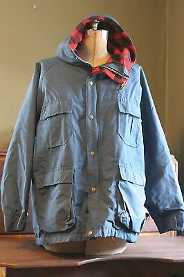 fc716f4fbbf VINTAGE LL BEAN Baxter State Parka Navy Red Plaid Winter Coat Jacket ...