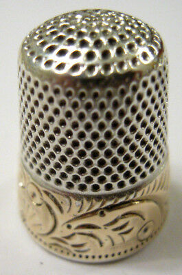 Beautiful! Sterling Silver  And Gold Rim Thimble - Ketchum And Mcdougal