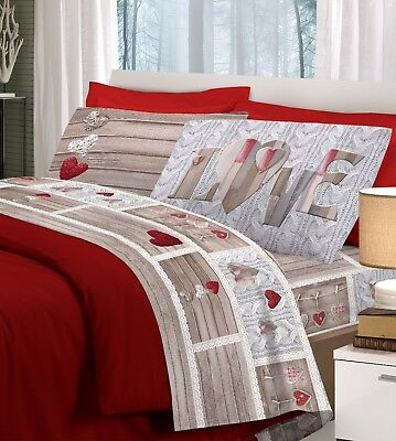 Completo Lenzuola Matrimoniale Love Shabby Cuore Rosso