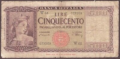 ITALY 1947 - 500 LIRE - REPLACEMENT NOTE - PICK 80a - W68 PREFIX - CIRCULATED
