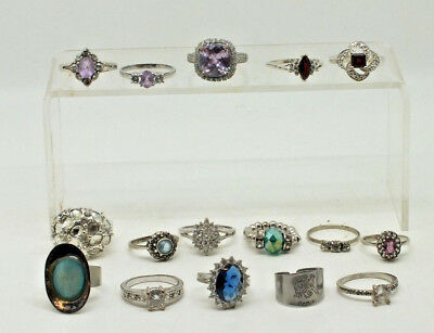 Job Lot of 16 Ladies Costume Jewellery Rings silver tone rings & silver rings