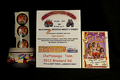 2003 Hooters Jeepers Meet & Greet Ad Merch Photo Stickers Perfect Table Tent