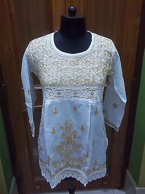 "M 40"" Kurti 100% Cotton Dress Handmade Top Ethnic Chikan Embroidery Kurta Tunic"