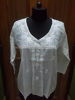 "Beautiful M 40"" Tunic Kurta Cotton Handmade Top Ethnic Chikan Embroidery Kurti"