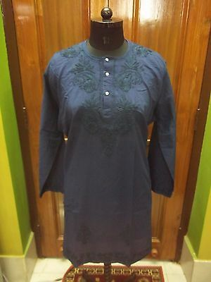 Fine 3Xl 49 Ethnic Kurti 100% Malmal Cotton Handmade Chikan Embroidery Top Kurta