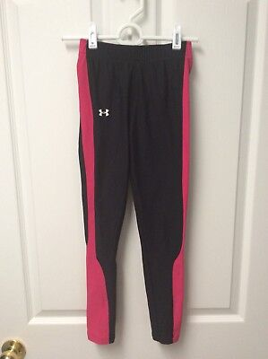 Under Armour Cold Gear Girl's Pants Black W/ Pink Size Youth Medium EUC 473