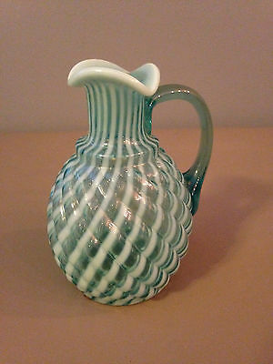 Beautiful 1900's McIntosh Blue and White Glass Pitcher