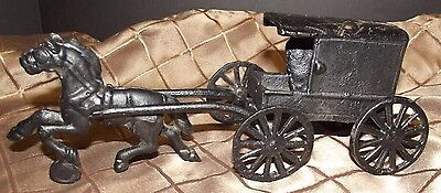 Vintage Toy Cast Iron Metal Horse Drawn Carriage Buggy Wagon Amish Family