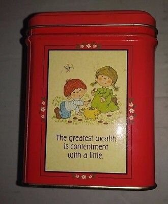 Vintage Hallmark Coin Bank Floral Red Cute Sayings