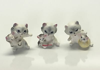 Lot Of 3 Small Vintage Lipco Cat Collectable Figurines Made In Korea