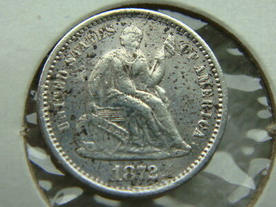 1872S Seated Liberty Half Dime H10C - Key Date Only 837,000 Minted (6673)