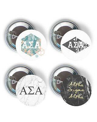 Alpha Sigma Alpha Marble Variety Pack of Buttons 2.25-inch ASA