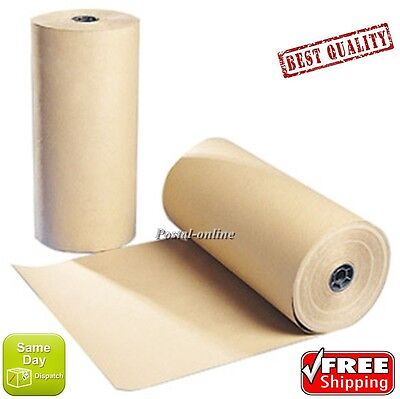 """20 20m x 600mm 24"""" 24  STRONG BROWN KRAFT WRAPPING PAPER 90gsm roll heavy duty"""