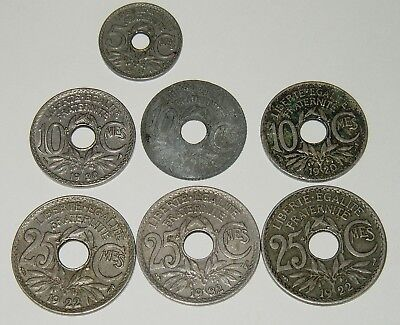 Lot of 7 Old French Coins - 5,10 & 25 Centimes