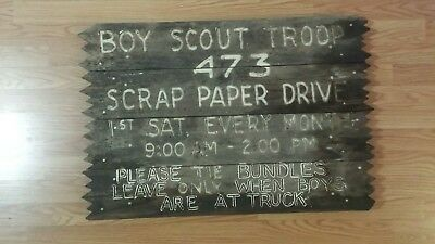 old wood sign boy scout made of wood and nails white paint 33in x 22in approxima