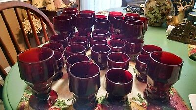 Lot of 32 Georgian Honeycomb Ruby Red Vintage Glasses, Anchor Hocking