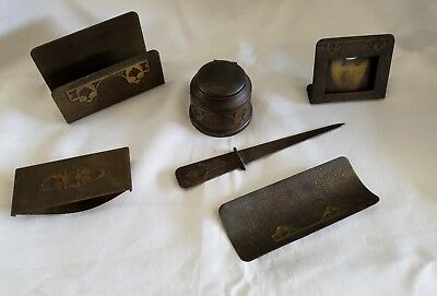 Rare Antique Arts Crafts Silvercrest Decorated Bronze Desk Set (6 Pieces)
