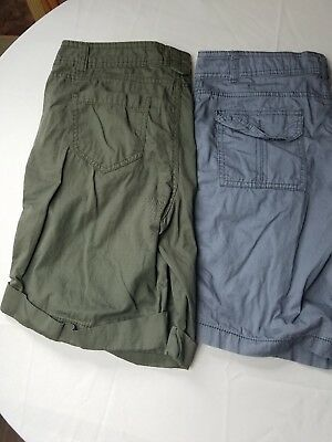 Womans Faded Glory Blue & Green Casual Wear Shorts Size 10 Lot of 2