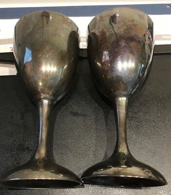 "Pair Of International Silver Co Vintage Goblets Wine Glasses 6"" Tall Silverplate"
