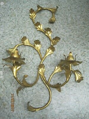 Vintage Wrought Iron gold painted Candelabra 2 Light wall mt Hollywood Regency
