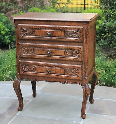 Antique French Country Oak Louis XV Style 3-Drawer Chest Nightstand Table PETITE