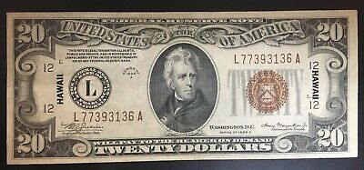WWII 1934A $20 Dollar Bill Hawaii Brown Seal Federal Note Currency