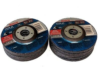 """10 New BOSCH 4-1/2"""" x 1/4"""" x 7/8"""" METAL GRINDING WHEELS- Made in Germany F. Ship"""
