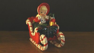 VINTAGE GEORGE LEFTON CHINA 1950S CHRISTMAS GIRL IN SLEIGH FIGURINE Signed