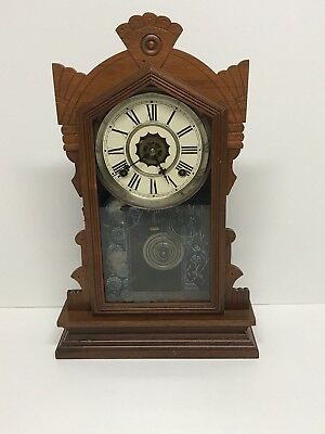 "Antique 1874 Waterbury Clock Gingerbread Parlor Kitchen Mantle Clock 23"" Tall"