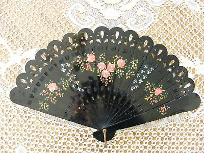 Antique Black Celluloid Fan, Hand painted w Pink Roses