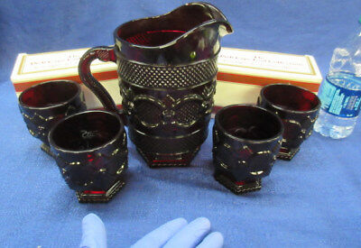 "NEW in Box Avon Cape Cod Pitcher & 4 Footed Glasses 3 3/4"" Ruby Red"