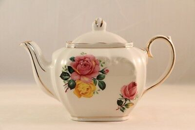 VTG SADLER SMALL White w/Gold Trim CUBE TEAPOT Pink & Yellow ROSES - Very CUTE!
